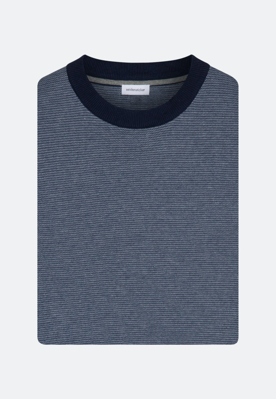 Rundhals Pullover aus 100% Baumwolle in Dunkelblau |  Seidensticker Onlineshop
