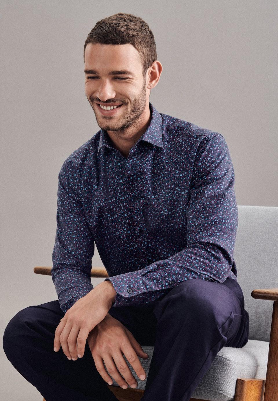 Twill Casual Hemd in Regular mit Kentkragen in Dunkelblau    Seidensticker Onlineshop