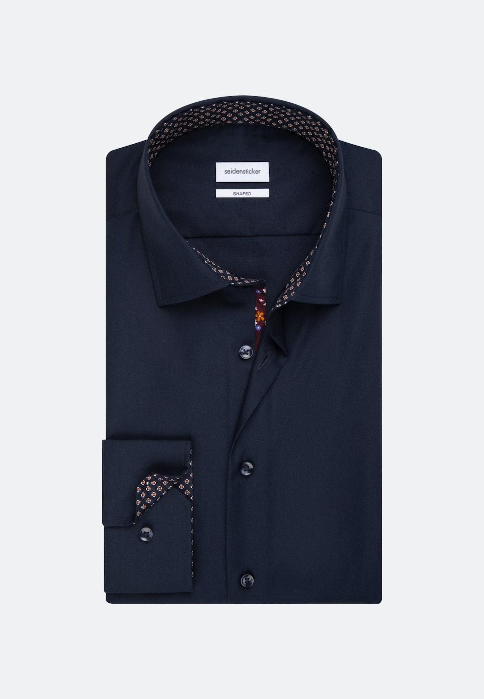 Bügelfreies Popeline Business Hemd in Shaped mit Kentkragen und extra langem Arm in Dunkelblau    Seidensticker Onlineshop