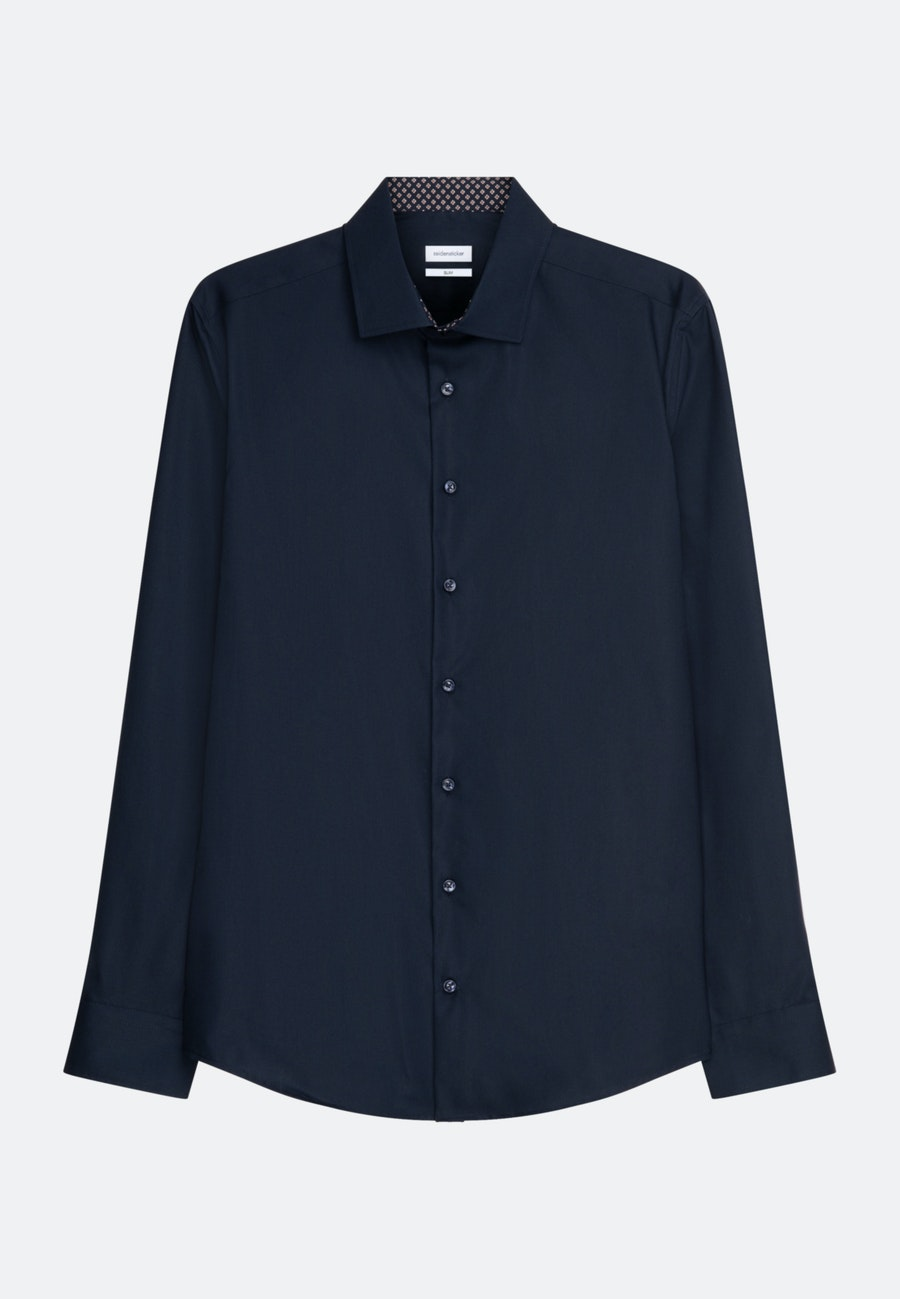 Bügelfreies Popeline Business Hemd in Slim mit Kentkragen und extra langem Arm in Dunkelblau    Seidensticker Onlineshop