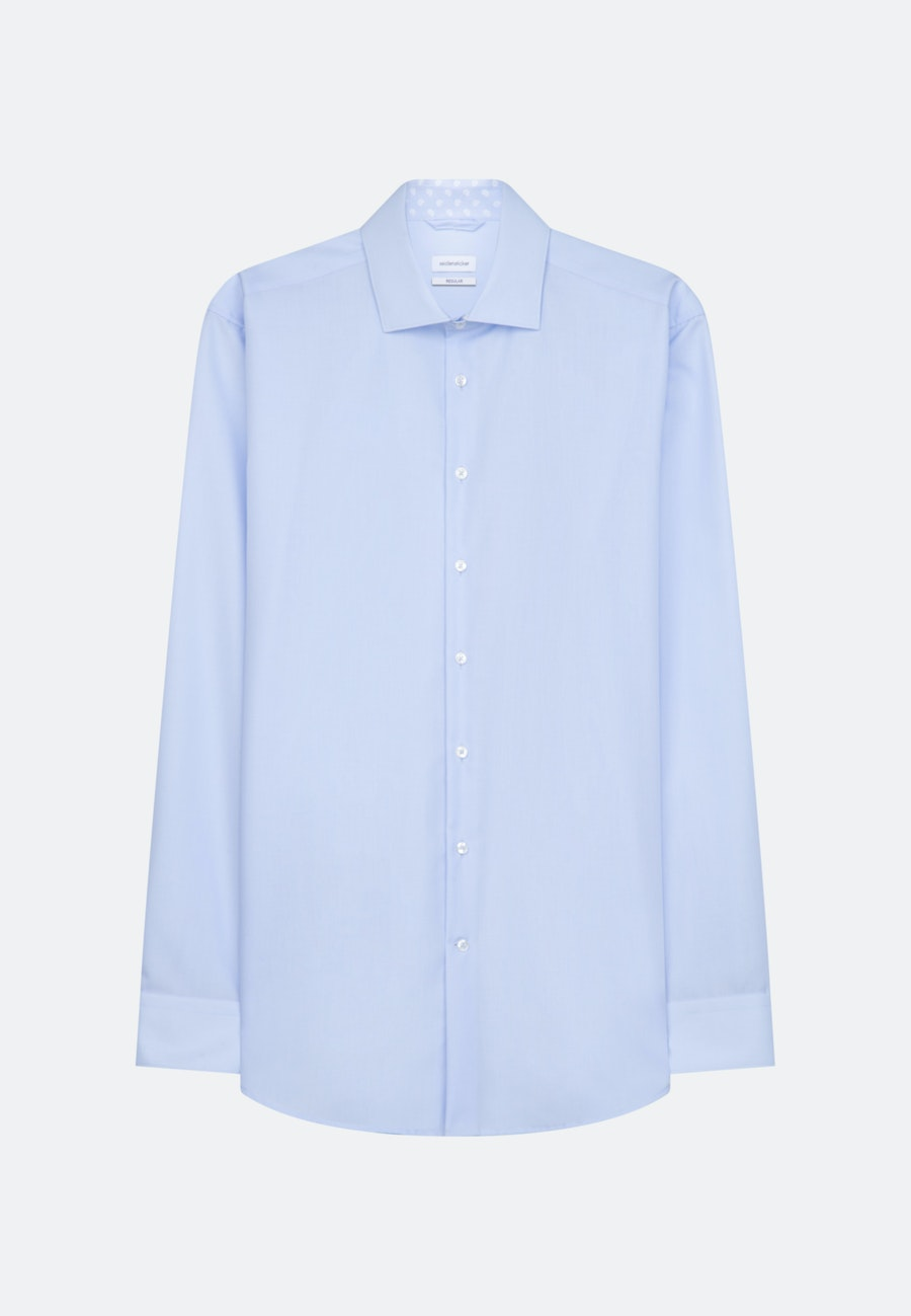 Bügelfreies Popeline Business Hemd in Regular mit Kentkragen in Mittelblau |  Seidensticker Onlineshop