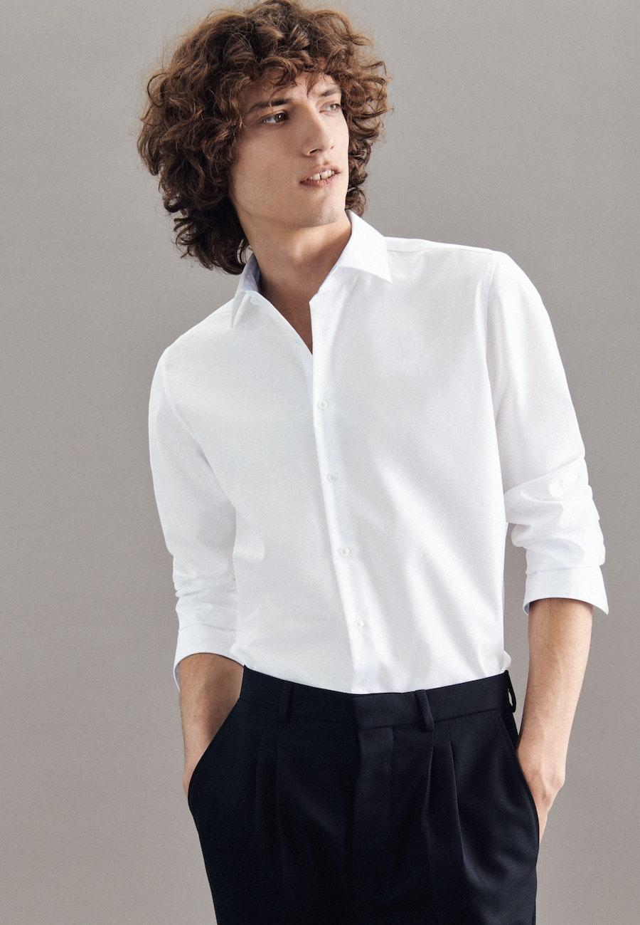 Bügelfreies Popeline Business Hemd in Shaped mit Kentkragen in Weiß    Seidensticker Onlineshop