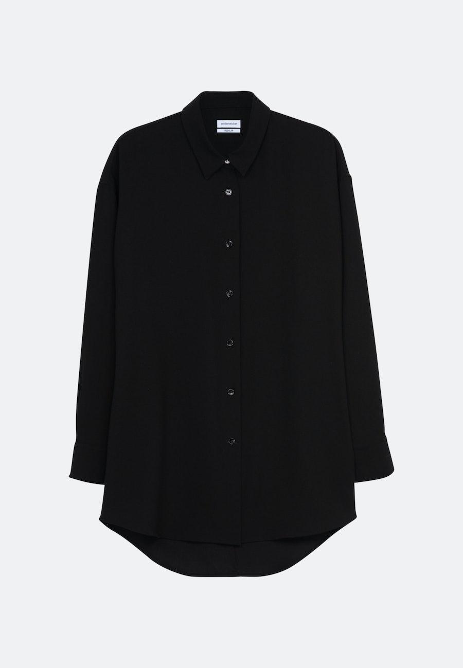 Krepp Longbluse aus 100% Polyester in Schwarz |  Seidensticker Onlineshop