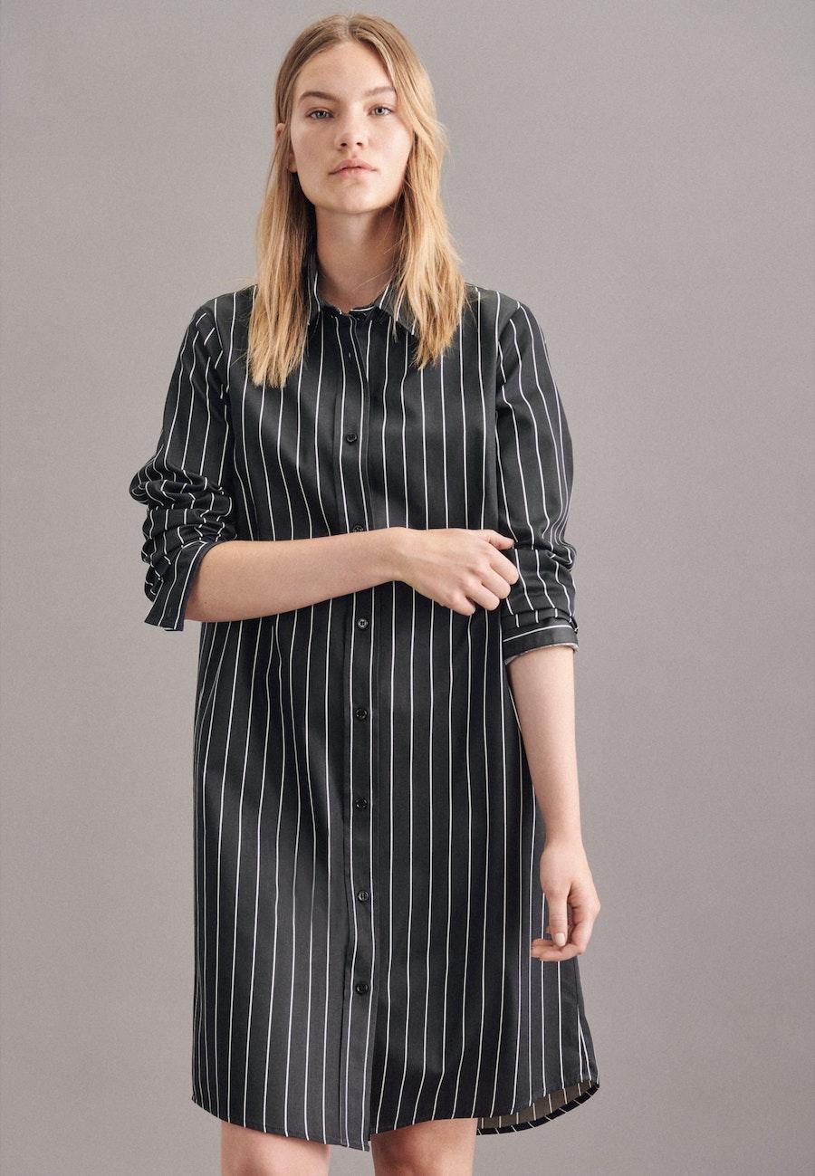 Satin Midi Kleid aus 100% Baumwolle in Schwarz |  Seidensticker Onlineshop