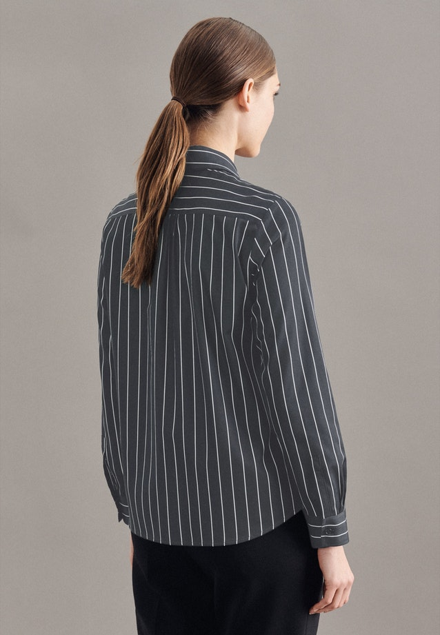 Satin Tie-Neck Blouse made of 100% Cotton in Black |  Seidensticker Onlineshop