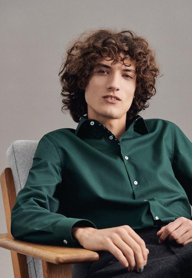 Non-iron Poplin Business Shirt in Shaped with Kent-Collar in Green    Seidensticker Onlineshop