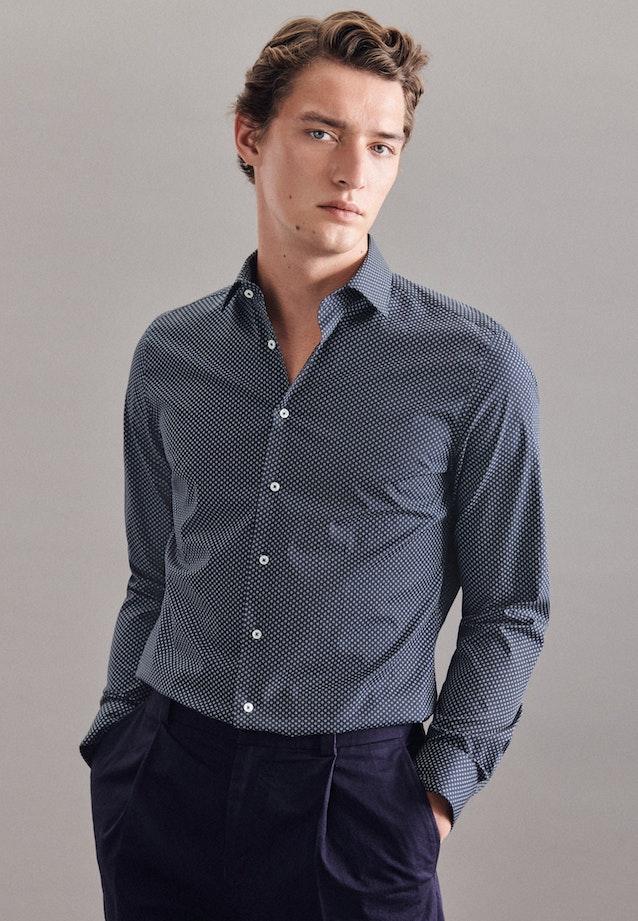 Poplin Business Shirt in Slim with Kent-Collar in Dark blue    Seidensticker Onlineshop
