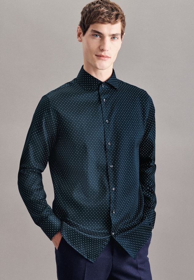 Twill Business Shirt in Shaped with Kent-Collar and extra long sleeve in Dark blue |  Seidensticker Onlineshop