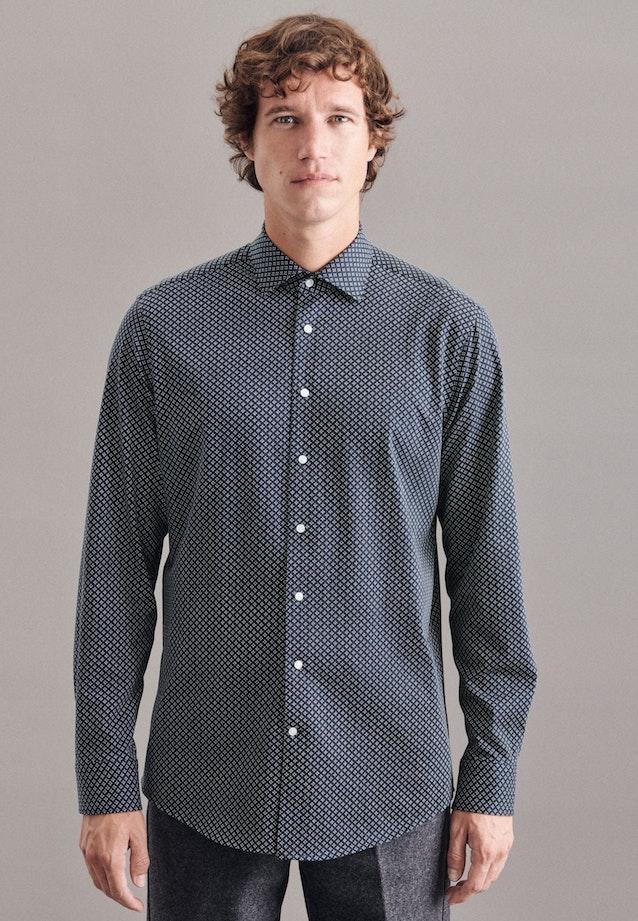 Jersey shirt in Regular with Kent-Collar in Dark blue    Seidensticker Onlineshop