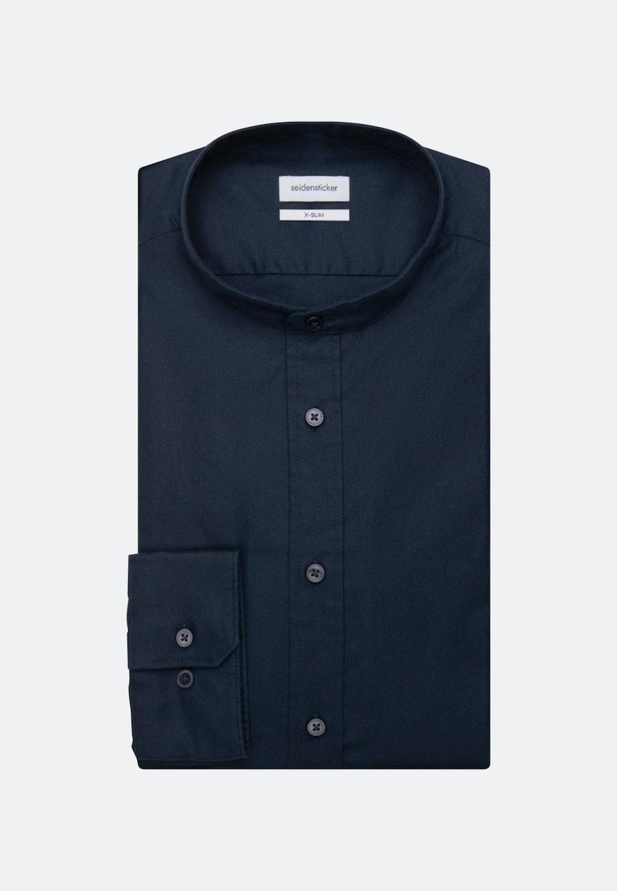 Bügelleichtes Twill Business Hemd in X-Slim mit Stehkragen in Dunkelblau    Seidensticker Onlineshop