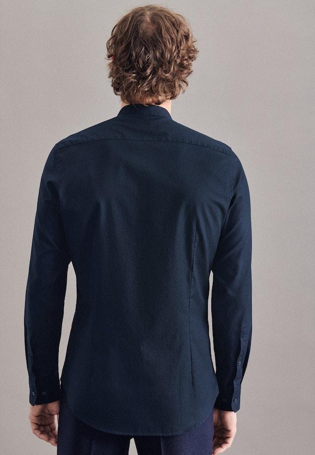 Bügelleichtes Twill Business Hemd in Slim mit Stehkragen in Dunkelblau |  Seidensticker Onlineshop