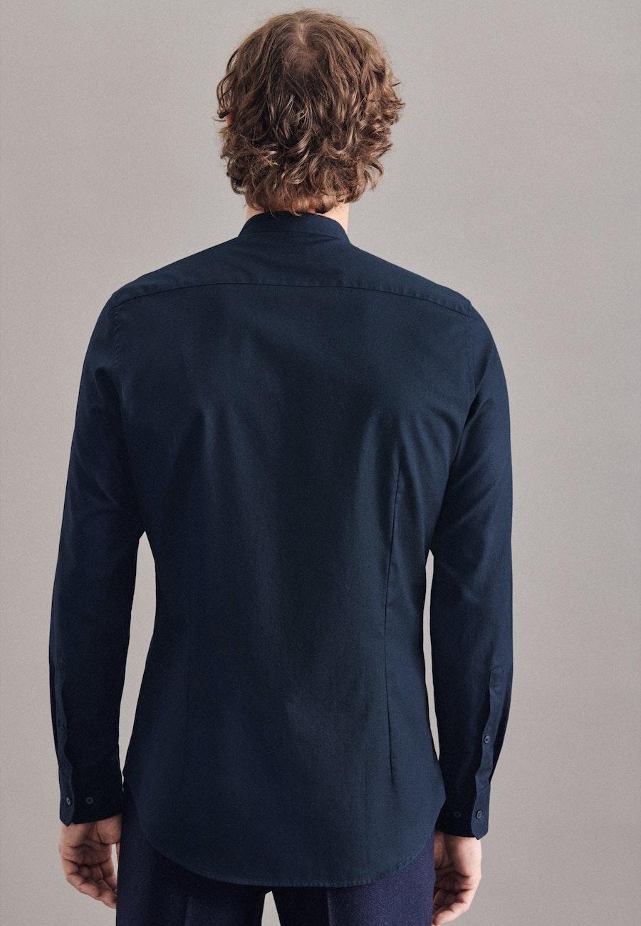 Bügelleichtes Twill Business Hemd in Slim mit Stehkragen in Dunkelblau    Seidensticker Onlineshop