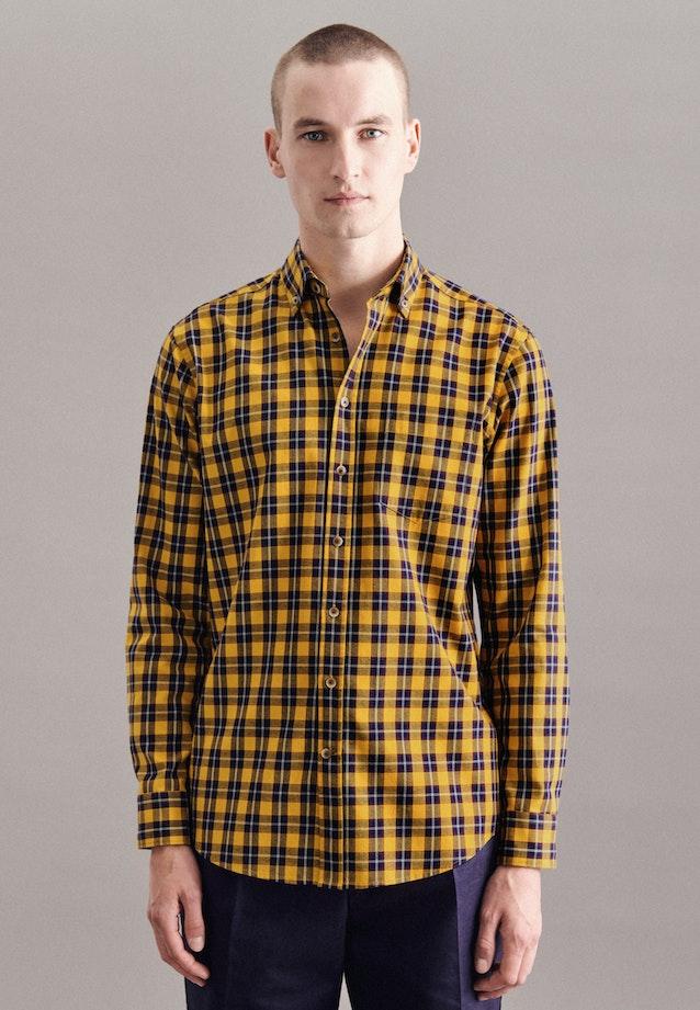 Twill Casual Hemd in Regular mit Button-Down-Kragen in Gelb    Seidensticker Onlineshop