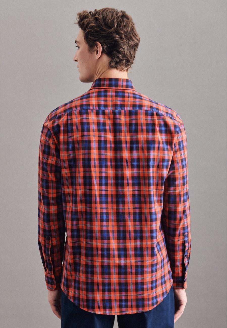 Twill Casual Hemd in Regular mit Button-Down-Kragen in Orange |  Seidensticker Onlineshop