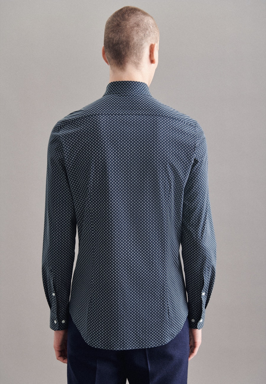 Jerseyhemd in Slim mit Kentkragen in Dunkelblau    Seidensticker Onlineshop