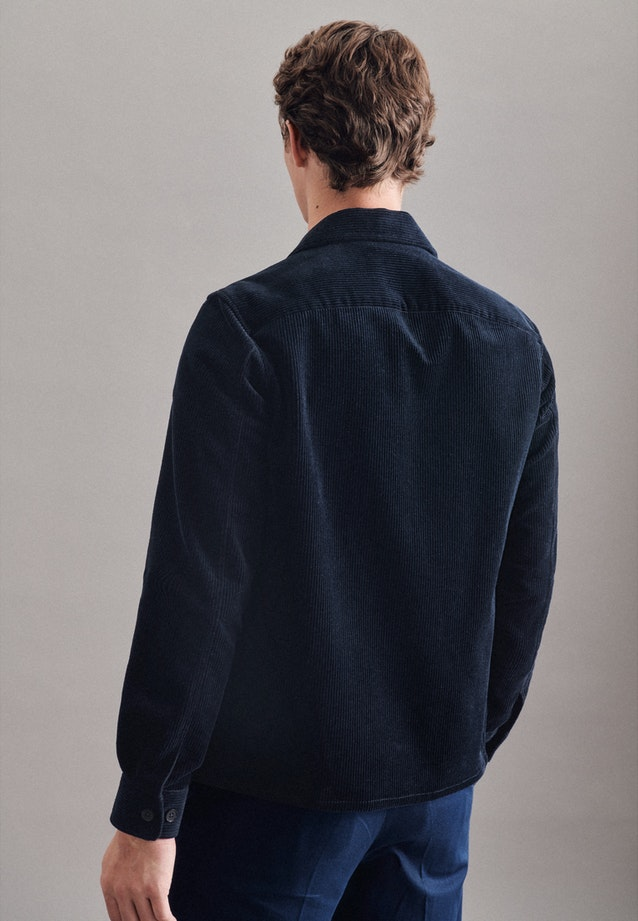 Cord Overshirt in Regular mit Reverskragen in Dunkelblau |  Seidensticker Onlineshop