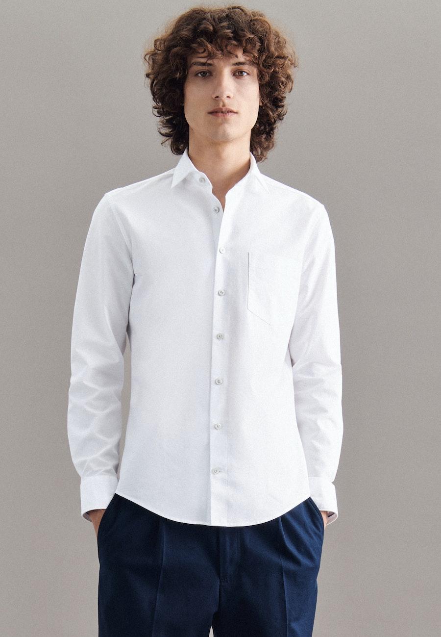 Oxfordhemd in Slim mit Kentkragen in Weiß    Seidensticker Onlineshop