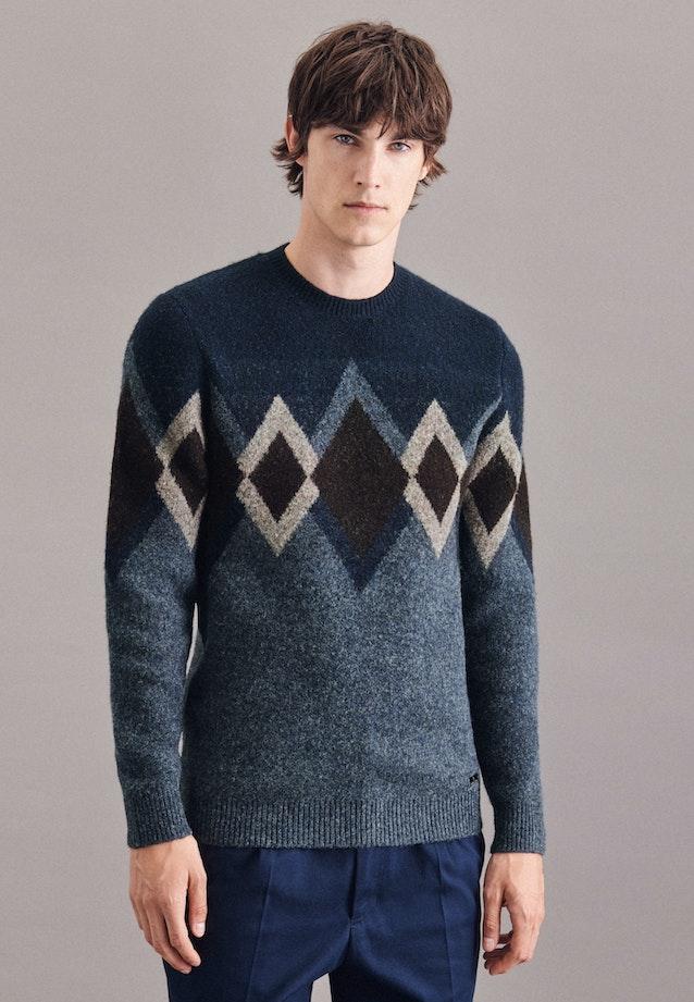 Crew Neck Pullover wool blend in Medium blue    Seidensticker Onlineshop