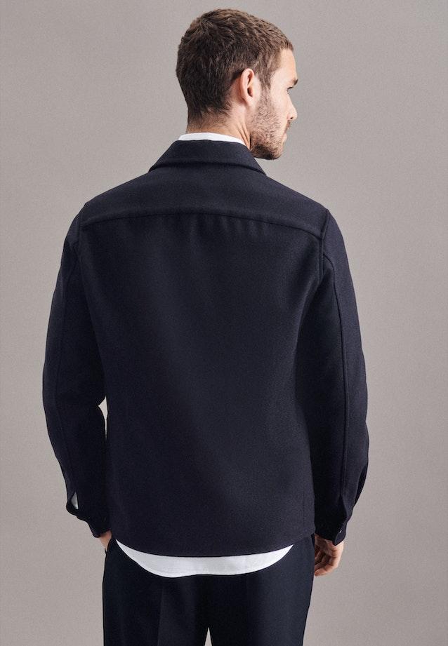 Twill / Moleskin Overshirt in Regular mit Reverskragen in Dunkelblau |  Seidensticker Onlineshop