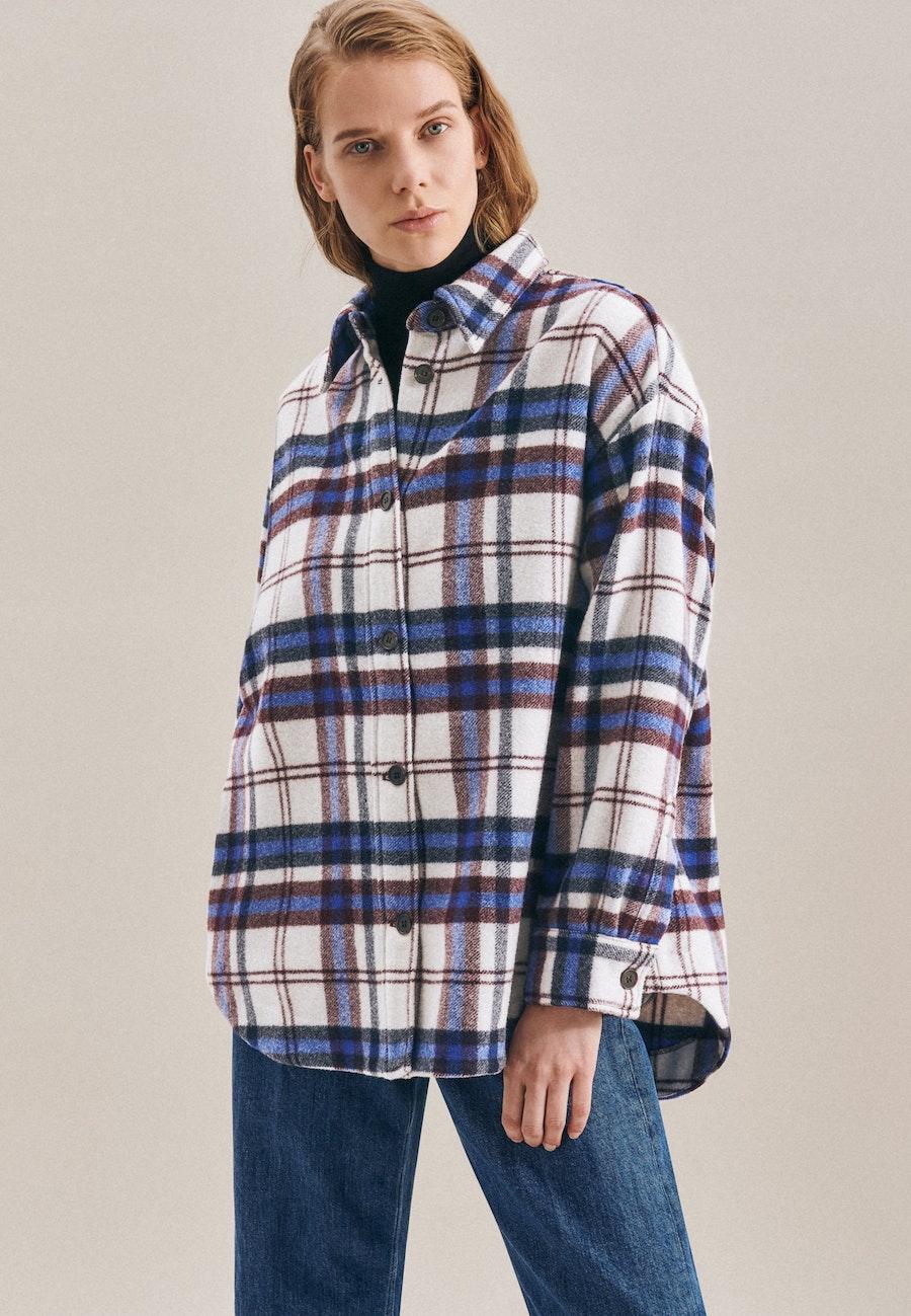 Langarm Flanell Overshirt aus Wollmischung in Dunkelblau |  Seidensticker Onlineshop
