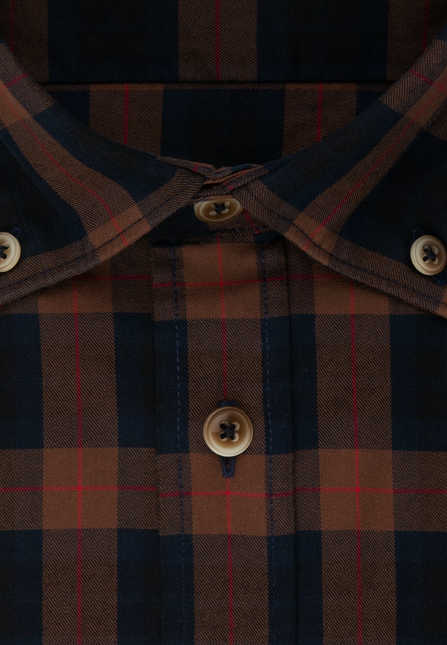 Twill Casual Hemd in Slim mit Button-Down-Kragen in Braun    Seidensticker Onlineshop