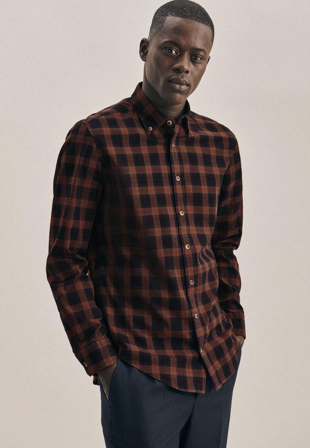 Twill Casual Hemd in Slim mit Button-Down-Kragen in Braun |  Seidensticker Onlineshop