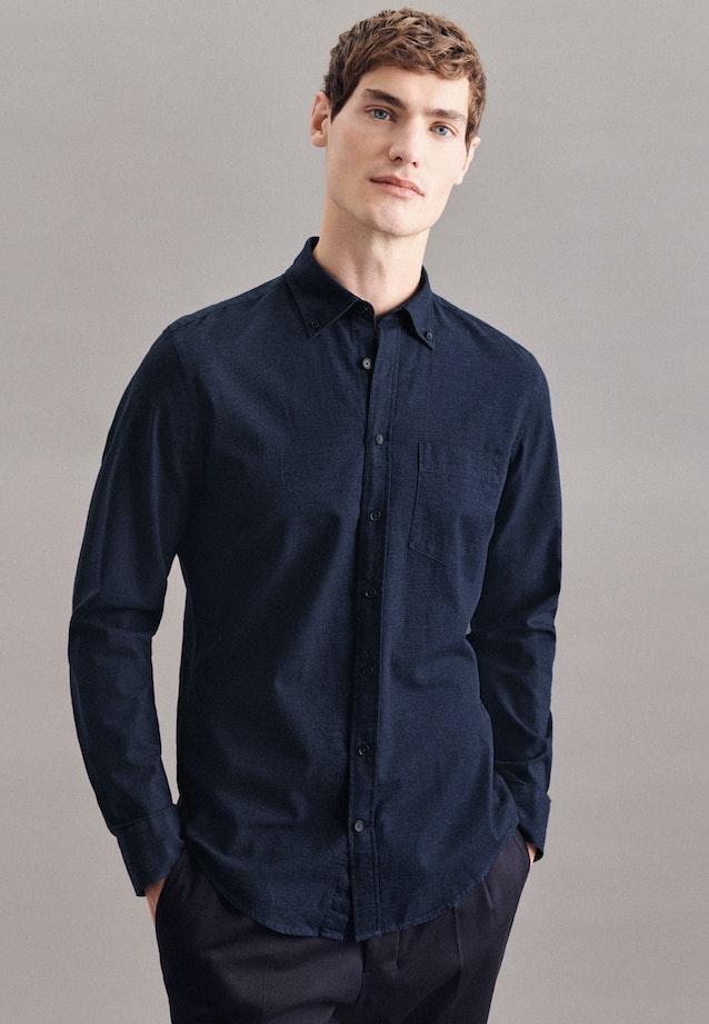 Twill Casual Hemd in Slim mit Button-Down-Kragen in Dunkelblau |  Seidensticker Onlineshop
