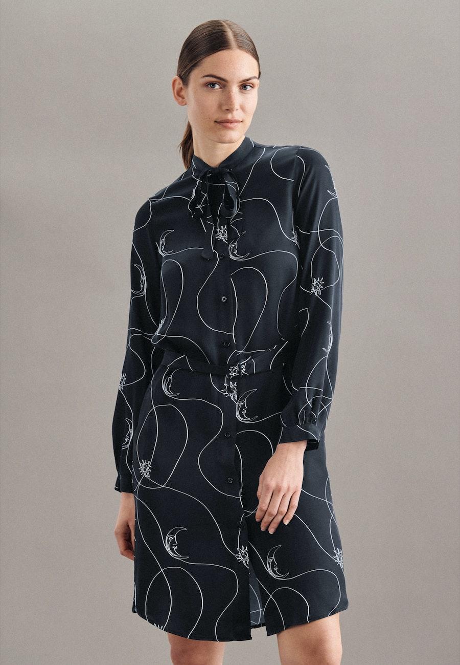 Satin Midi Kleid aus 100% Viskose in Schwarz    Seidensticker Onlineshop