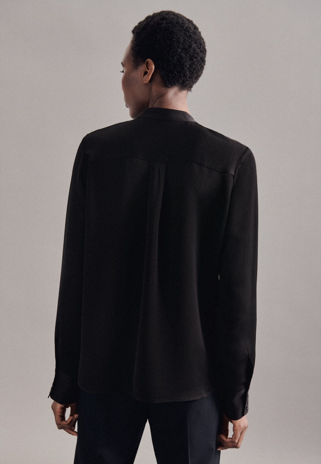 Crepe Satin Stand-Up Blouse made of 100% Viscose in Black    Seidensticker Onlineshop