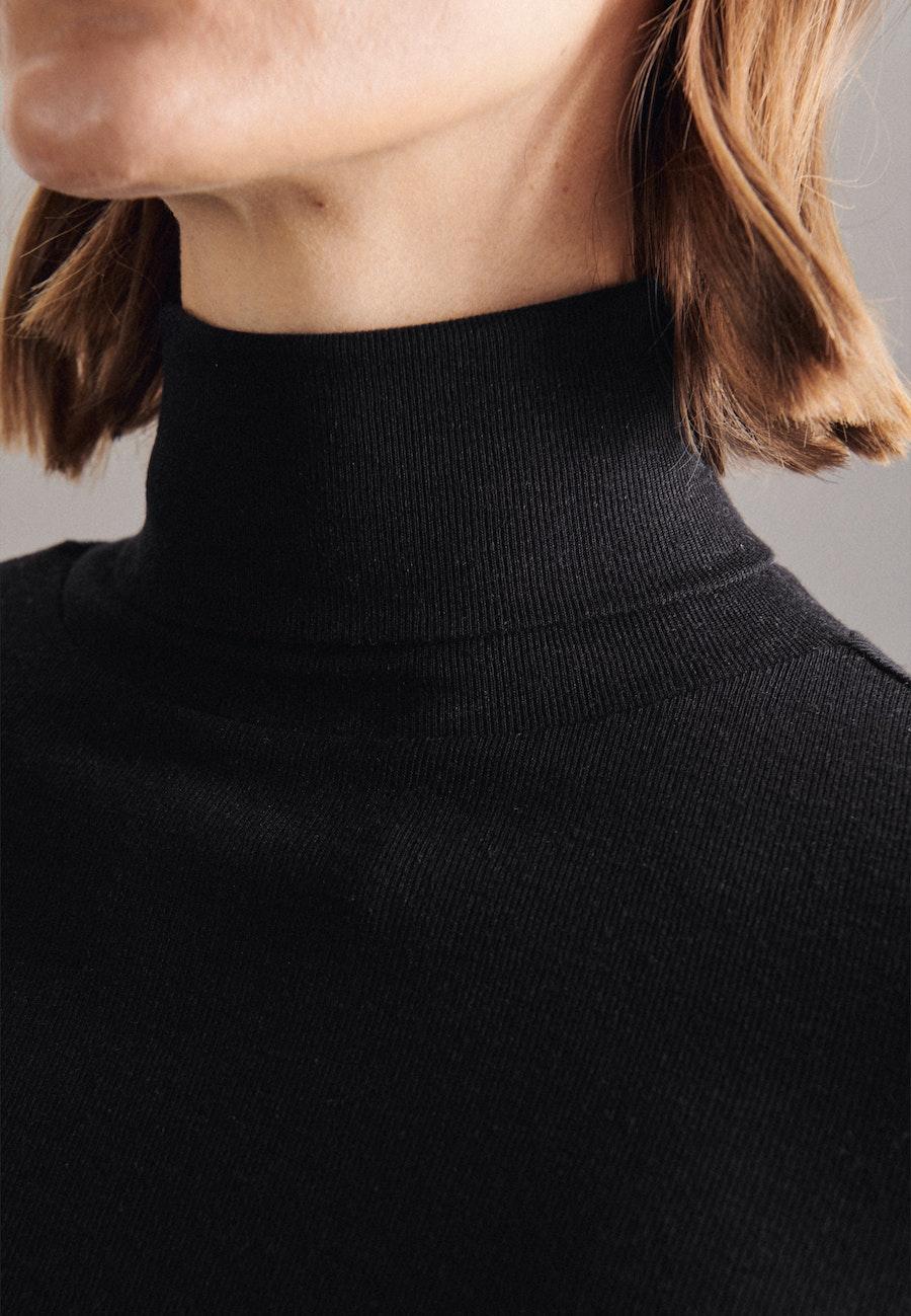 Rollkragen Pullover Slim fit Wollmischung in Schwarz |  Seidensticker Onlineshop
