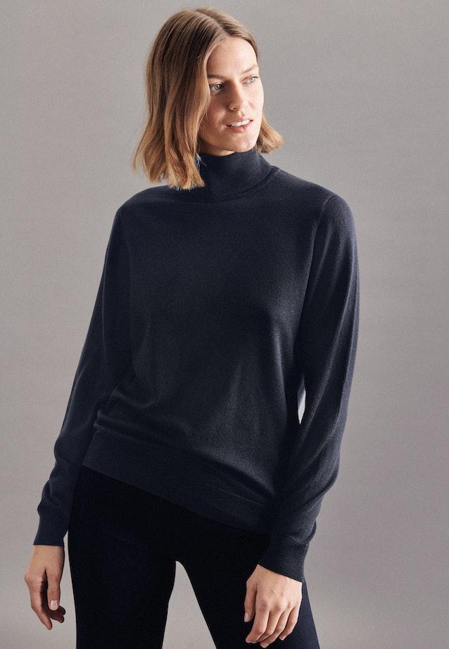 Polo neck Pullover Regular fit 100% Wool in Dark blue |  Seidensticker Onlineshop