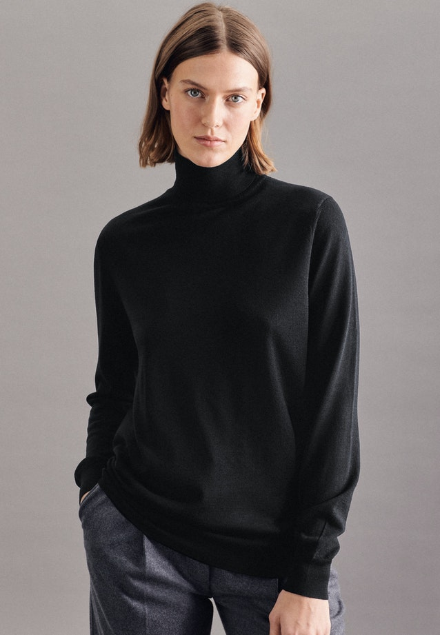 Rollkragen Pullover Regular fit 100% Wolle in Schwarz |  Seidensticker Onlineshop