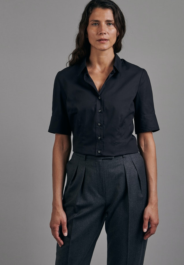 Non-iron Short sleeve Popeline Shirt Blouse made of 100% Cotton in Black |  Seidensticker Onlineshop