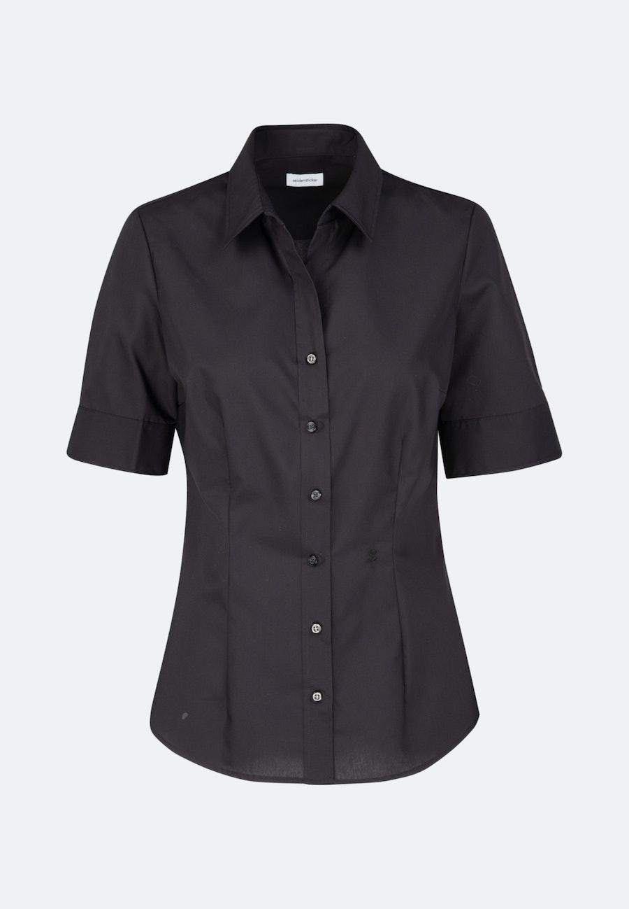 Bügelfreie Kurzarm Popeline Hemdbluse aus 100% Baumwolle in Schwarz    Seidensticker Onlineshop