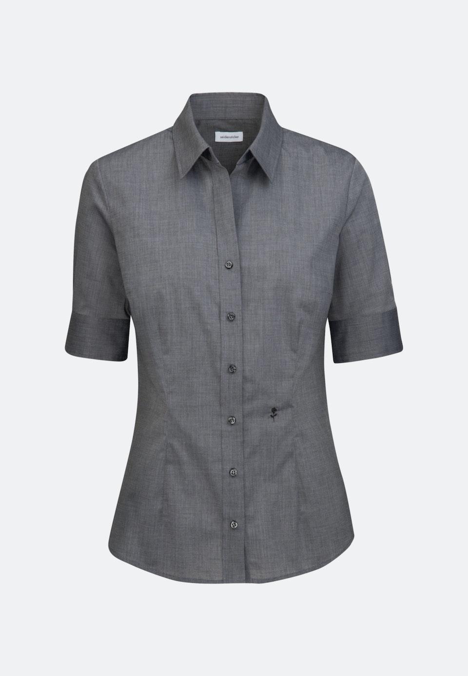 Bügelfreie Kurzarm Popeline Hemdbluse aus 100% Baumwolle in Grau |  Seidensticker Onlineshop