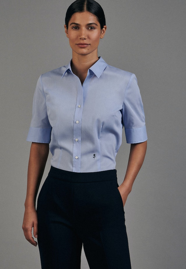 Non-iron Short sleeve Popeline Shirt Blouse made of 100% Cotton in Light blue |  Seidensticker Onlineshop