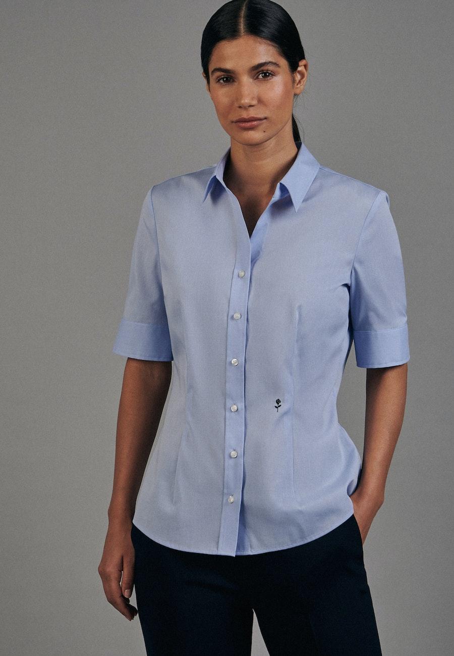 Non-iron Short sleeve Poplin Shirt Blouse made of 100% Cotton in Light blue |  Seidensticker Onlineshop