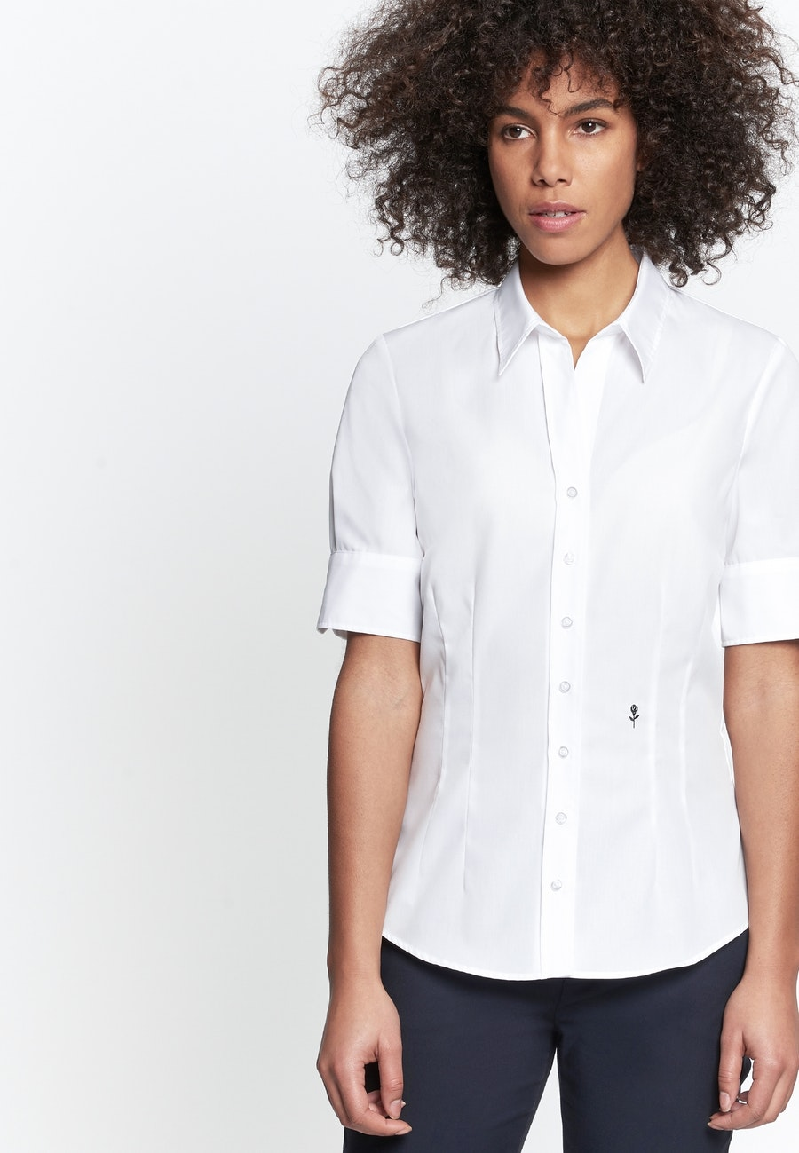 Non-iron Short sleeve Poplin Shirt Blouse made of 100% Cotton in White |  Seidensticker Onlineshop