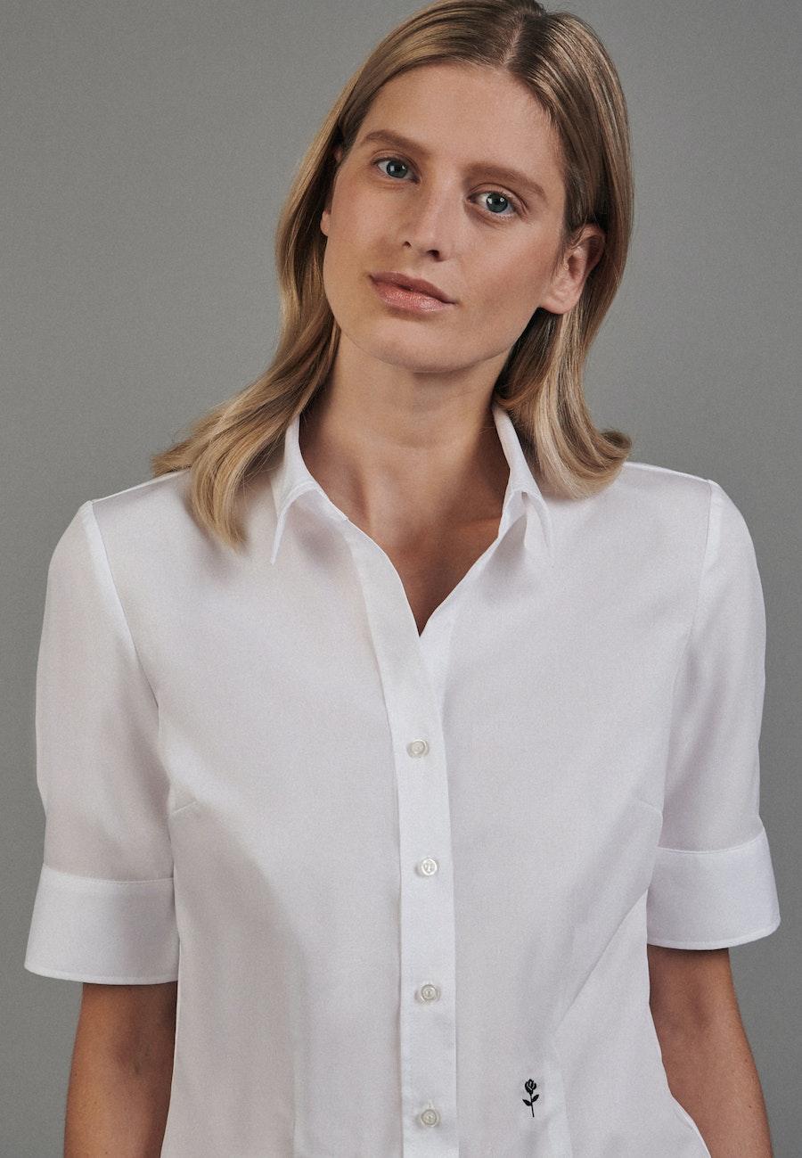 Bügelfreie Kurzarm Popeline Hemdbluse aus 100% Baumwolle in Weiß |  Seidensticker Onlineshop