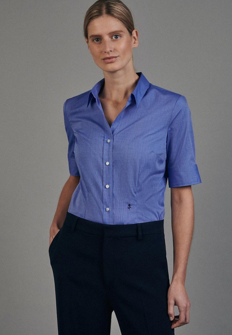 Non-iron Short sleeve Poplin Shirt Blouse made of 100% Cotton in Medium blue    Seidensticker Onlineshop