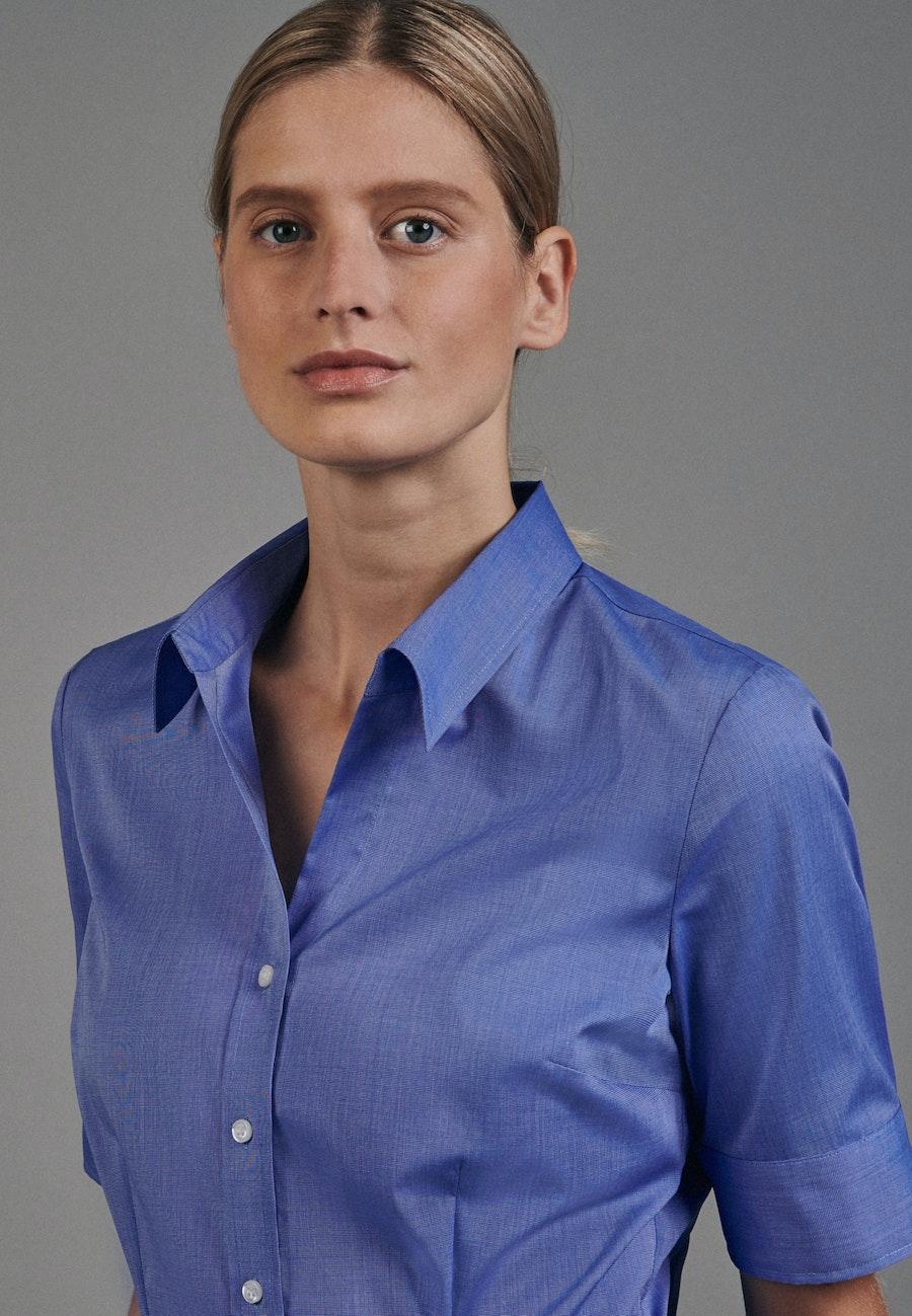 Bügelfreie Kurzarm Popeline Hemdbluse aus 100% Baumwolle in Mittelblau    Seidensticker Onlineshop