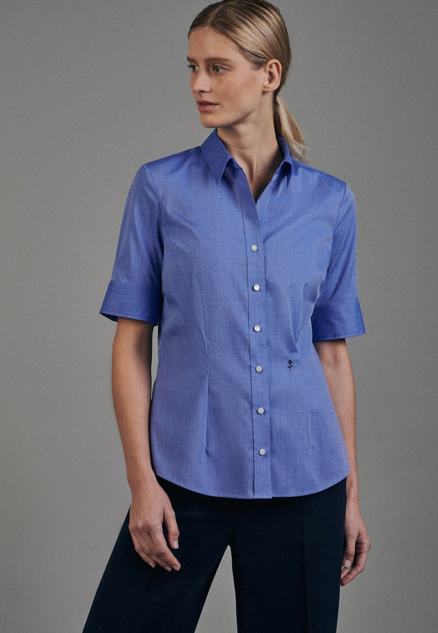 Non-iron Short sleeve Popeline Shirt Blouse made of 100% Cotton in Medium blue |  Seidensticker Onlineshop