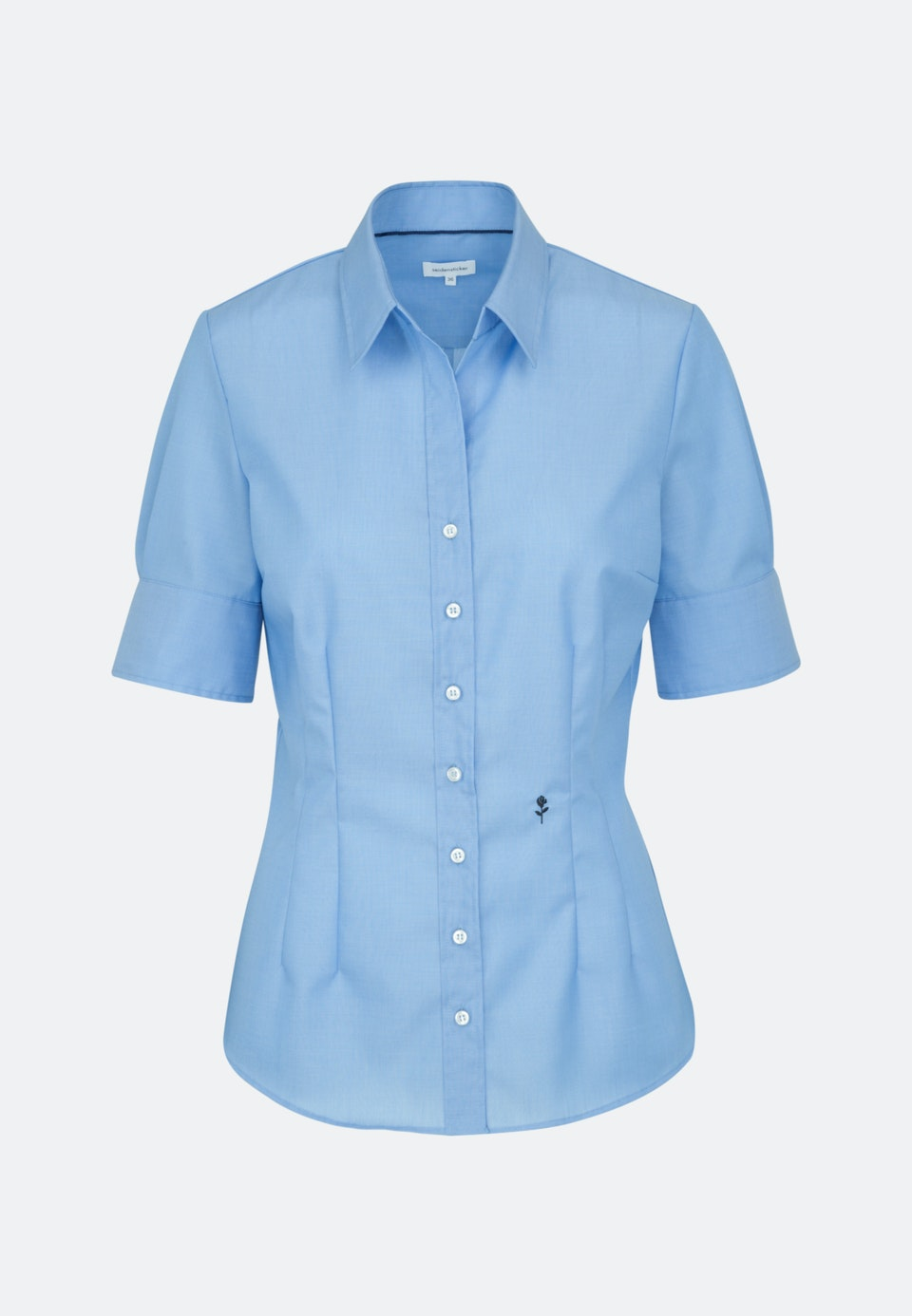 Bügelfreie Kurzarm Popeline Hemdbluse aus 100% Baumwolle in Mittelblau |  Seidensticker Onlineshop