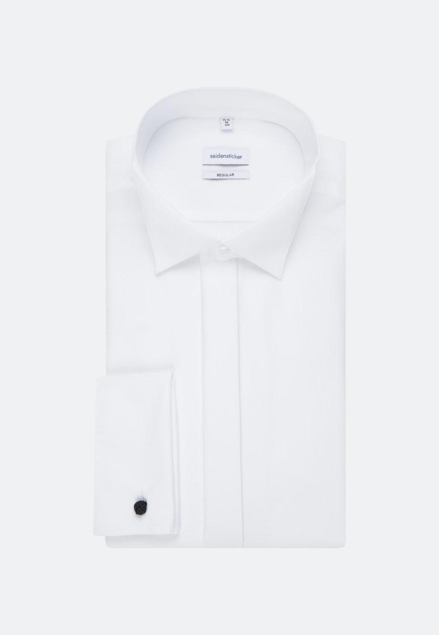 Bügelfreies Popeline Smokinghemd in Regular mit Kläppchenkragen in Weiß    Seidensticker Onlineshop