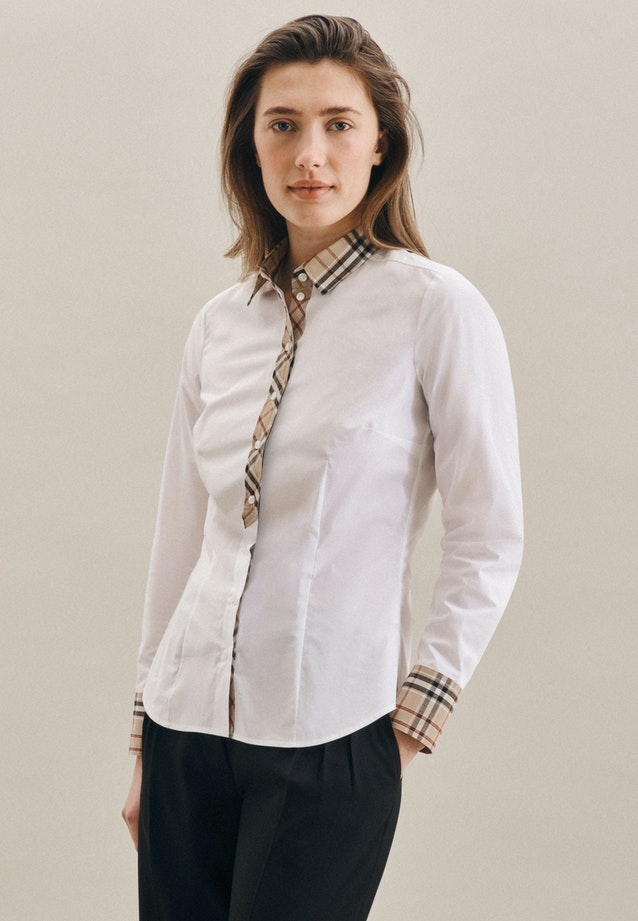 Popeline Shirt Blouse made of cotton blend in White |  Seidensticker Onlineshop