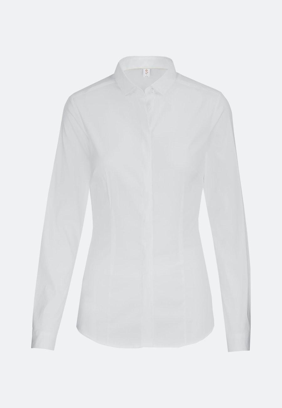 Popeline Shirt Blouse made of cotton blend in White    Seidensticker Onlineshop
