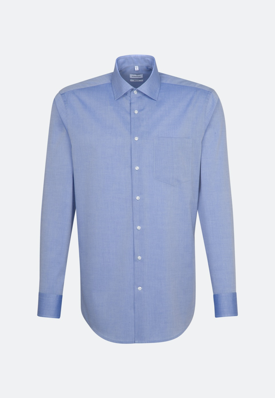 Non-iron Chambray Business Shirt in Regular with Kent-Collar in Medium blue    Seidensticker Onlineshop