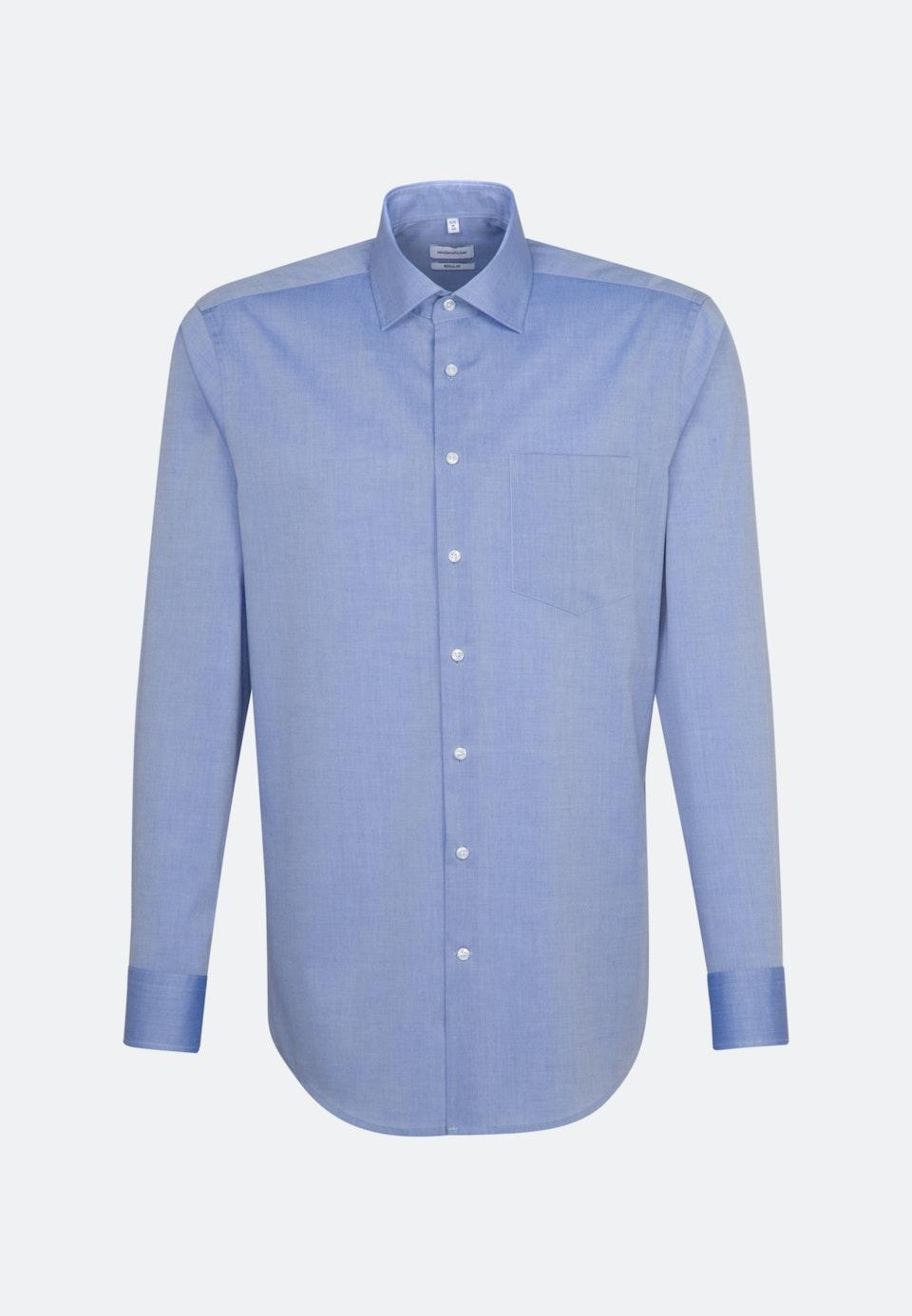 Bügelfreies Chambray Business Hemd in Regular mit Kentkragen in Mittelblau |  Seidensticker Onlineshop