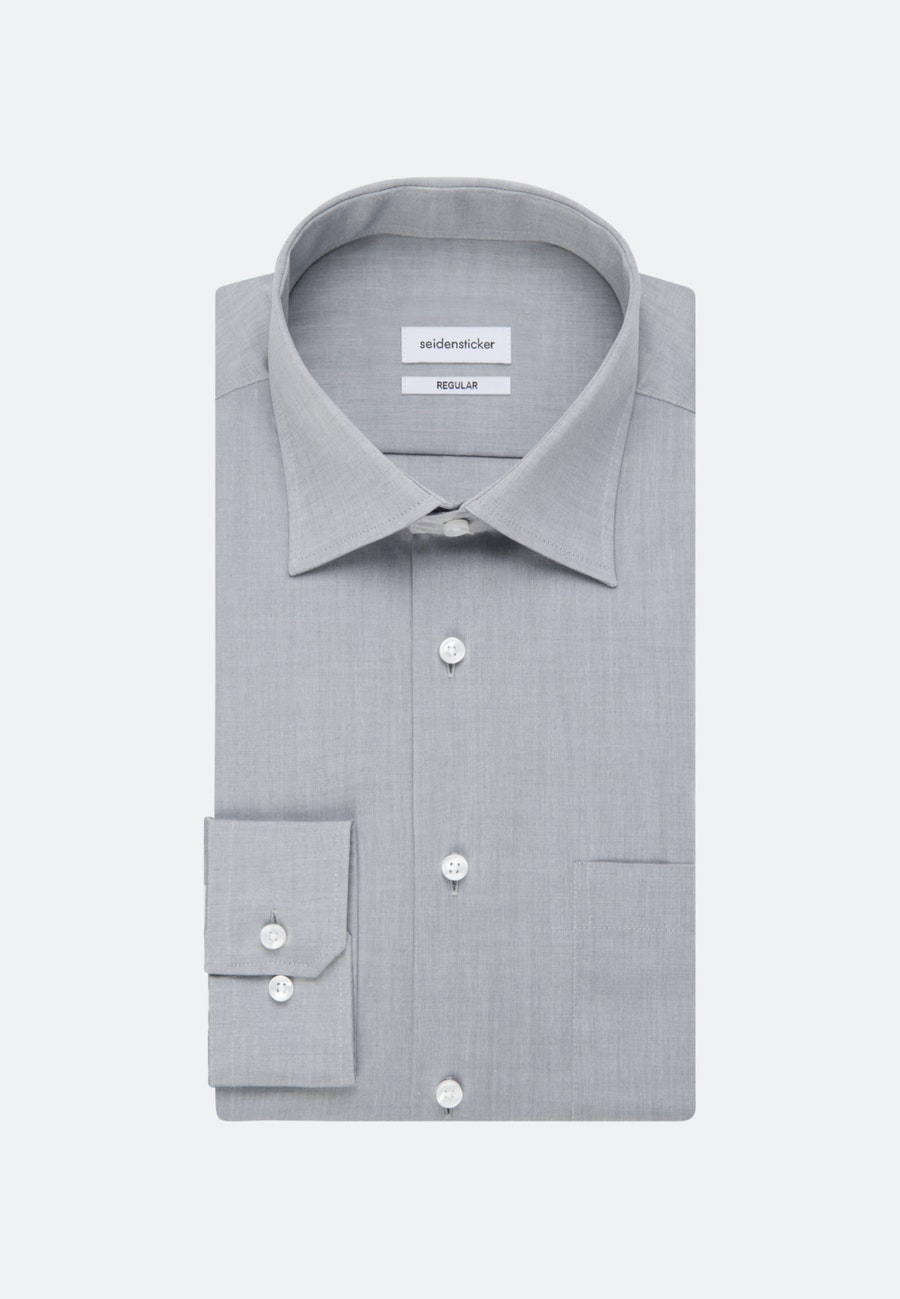 Non-iron Chambray Business Shirt in Regular with Kent-Collar in Grey |  Seidensticker Onlineshop