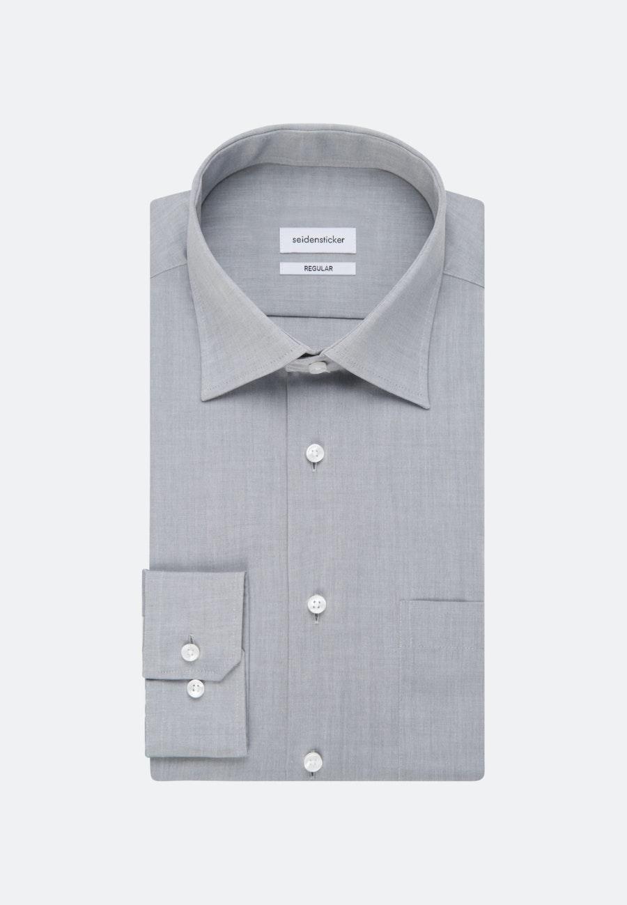 Non-iron Chambray Business Shirt in Regular with Kent-Collar in Grey    Seidensticker Onlineshop